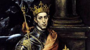 Haarnistaan pukeutunut kruunupäinen kuningas.
