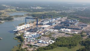 Aerial photo of Meyer Turku Shipyard.