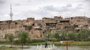 Näkymä Kashgarin vanhassa kaupungissa Xinjiangin uiguurialueella.