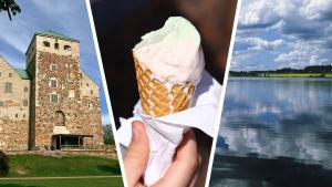Turun linna, jäätelö, järvimaisema