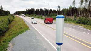 Nopeusvalvontaa E75 -tiellä Hartolassa.