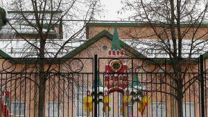 Anglo-Amerikkalaisen koulun leikkipuistossa on värikäs torni.