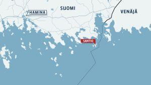 Kartta Santion saaresta ja Suomen itärajasta.