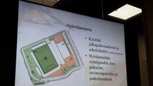 Luonnos Kokkolaan kaavaillusta hybridiareenasta.