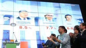 Ukrainan presidentin Volodymyr Zelenskyn Kansan Palvelija -puolueen voittojuhlat 21. heinäkuuta.