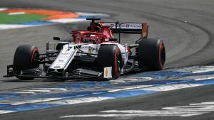 Alfa Romeon Kimi Räikkönen ajoi seitsemänneksi Hockenheimissa.