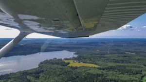 Lentokoneesta otettu maisemakuva Keski-Suomesta.