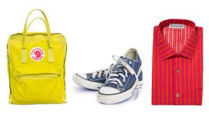 Kånkenin keltainen reppu, conversen siniset tennarit ja Marimekon punainen Jokapoika- kauluspaita.