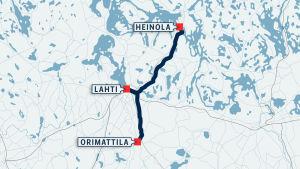 Kartta Lahden, Heinolan ja Orimattilan välisistä raideyhteyksistä