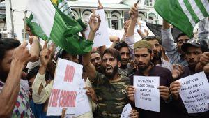 Intian hallituksen vastaisia mielenosoittajia Srinagarissa 16. elokuuta.