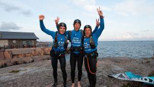 Leijalautailun maailmanennätys. Otso Ahvonen, Juuso Tilaéus ja Pekka Rintala.