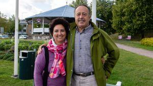 Italialainen turisti-pariskunta Lappeenrannan satamassa