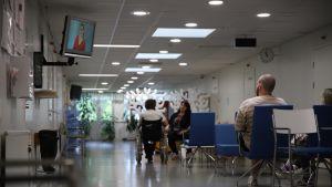Ihmisiä istumassa sairaalan aulassa.