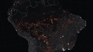 Nasan havainnekuvasta näkyy Amazonin palojen laajuus.