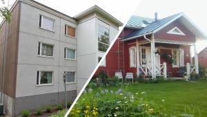 Kollaasi, jossa harmaa kerrostalo vasemmalla ja punainen omakotitalo vasemmalla.