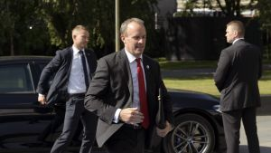 Britannian ulkoministeri Dominic Raab saapui Finlandia-talolle eilen Helsingissä.