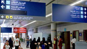 Saudinaisia saapuu Abhan lentokentälle 13. kesäkuuta 2019.