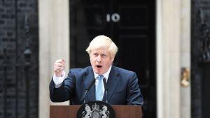 Pääministeri Boris Johnson puhuu Downing Street 10:n edustalla.