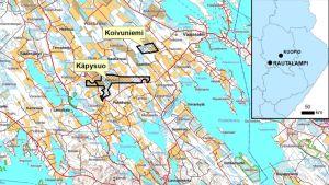 Kartta Rautalammille haettavista malminetsintäalueista.
