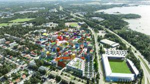 Havainnekuva Vaasan Ravilaaksosta. Alueen rakentaminen on tarkoitus aloittaa vuoden 2021 alussa.