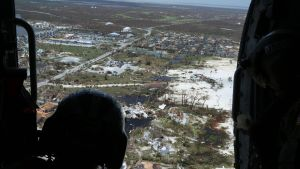 Kuva lennolta Bahamasaarten yllä 4. syyskuuta.