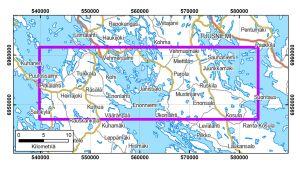 Kartta malminetsinnän lentomittausten alueesta.