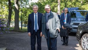 Finnish Prime Minister Antti Rinne and European Parliament President David Sassoli in Helsinki on 6 September 2019.