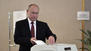 Presidentti Putin antoi äänensä Moskovan kaupunginduuman vaaleissa.
