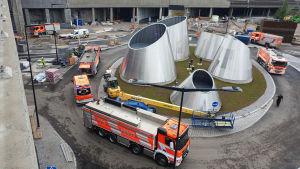 Palo syttyi pelastuslaitoksen mukaan maan alla Pasilan aseman kohdalle rakennettavan kauppakeskus Triplan alla.