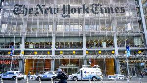 The New York Times -sanomalehden toimitus New Yorkissa.
