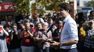Kanadan pääministeri Justin Trudeau puhui lehdistölle Winnipegissä 19. syyskuuta.