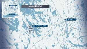 Maanjäristys kartalla.