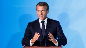 Ranskan presidentti Emmanuel Macron kuvattuna YK:n ilmastokokouksessa 23. syyskuuta 2019.