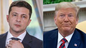 Kuvakollaasissa Ukrainan presidentti Volodymyr Zelenskyi (vas.) ja Yhdysvaltain presidentti Donald Trump.