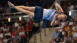 Emil Soravuo vauhdissa Euroopan kisoissa Minskissä 2019.