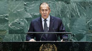 Venäjän ulkoministeri Sergei Lavrov puhui perjantaina YK:n yleiskokouksessa New Yorkissa.
