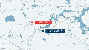 Kiimajärvi sijaitsee 44-tien varressa Sastamalan Kiikan ja Kiikoisten välillä.
