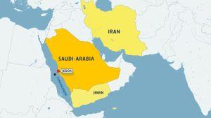 Kartta jossa Saudi-Arabia ja Jedda