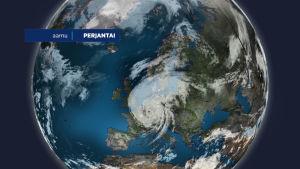 Satelliitikuva taifuunista sovitettuna Euroopan ylle.