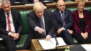 Britannian pääministeri Boris Johnson kuvattuna Brexit-istunnossa Lontoon parlamenttitalossa 19. lokakuuta.