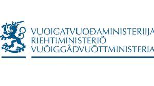 Oikeusministeriön saamenkielinen logo