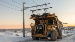Bolidenin Sähkökäyttöinen kaivoskuorma-auto Aitikin kaivoksella Ruotsissa.