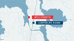 Myllyrannan tapahtumapuisto sijaitsee Lempäälän keskustassa.