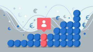 Kasa väritettyjä palloja. Taustalla on euron symboleja.