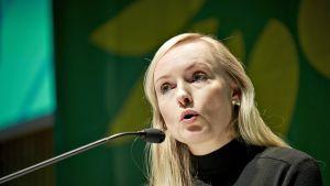 Vihreiden puheenjohtaja Maria Ohisalo puhui vihreiden eurooppalaisen kattopuolueen Euroopan vihreiden (European Green Party, EGP) valtuuskunnan kokouksessa Tampereella 8. marraskuuta 2019.