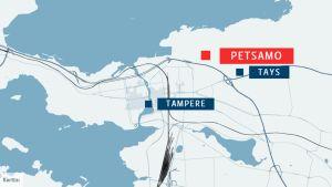 Petsamo sijaitsee Tampereen keskustan pohjoispuolella Tampereen yliopistollisen sairaalan lähellä.