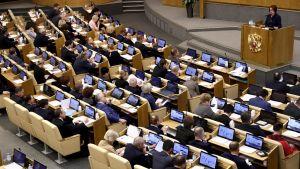 Venäjän Duuman istunto, puheenvuorossa Venäjän keskuspankin Elvira Nabiullina.