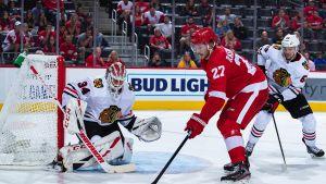 Kuvassa torjuva Kevin Lankinen pelasi syyskuussa vielä NHL:n harjoituspelejä.