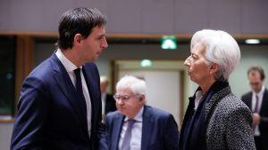 Hollannin valtiovarainministeri Wopke Hoekstra ja Euroopan keskuspankin johtaja Christine Lagarde.