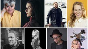 Pirkko Saisio, Malin Kivelä, Ralf Andtbacka ja Maija Muinonen, alarivi vasemmalta: Antti Salminen, Laura Laakso, Aki Salmela ja Meiju Niskala.